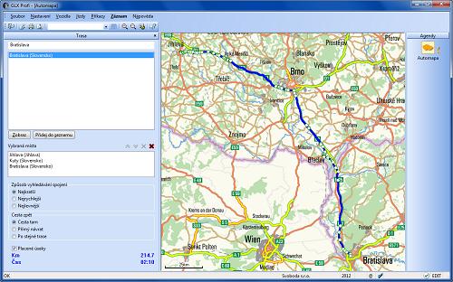 GLX: V agendě Automapa lze zvolenou trasu naplánovat a následně přenést do knihy jízd nebo cestovních příkazů