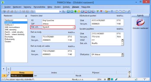 PAMICA: Všimněte si pole Dat. sch. Do něho zadejte ID datové schránky finančního úřadu a správy sociálního zabezpečení v případě, že budete odesílat elektronická podání rovnou do datových schránek jednotlivých úřadů.