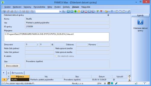 PAMICA: Všechny odeslané datové zprávy najdete zaznamenané ve stejnojmenné agendě, která se nachází v nabídce Soubor/Datová komunikace.