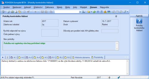 Při likvidaci vyšší jak 10 000 Kč POHODA automaticky zařadí daňový doklad do sekcí A.4. a B.2. kontrolního hlášení.