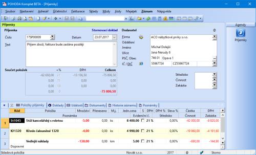 POHODA při stornování příjemky automaticky rozpočítává vedlejší náklady na jednotlivé položky.
