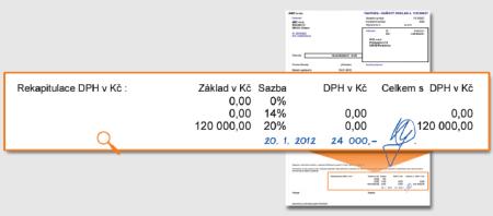 Na došlou fakturu odběratel ručně doplní částku 24000Kč.