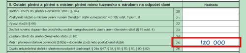 Do přiznání k DPH vstoupí částka 120000Kč na řádek 25.